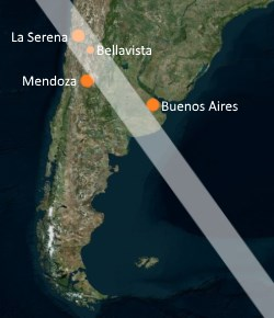 Eclipse track for the 2019 Total Solar Eclipse