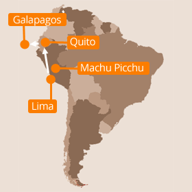 Map of Peru and Galapagos Islands